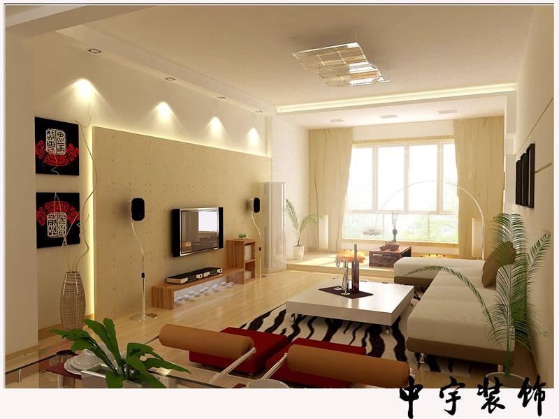 中华名园 三居室 138平米 客厅装修设计